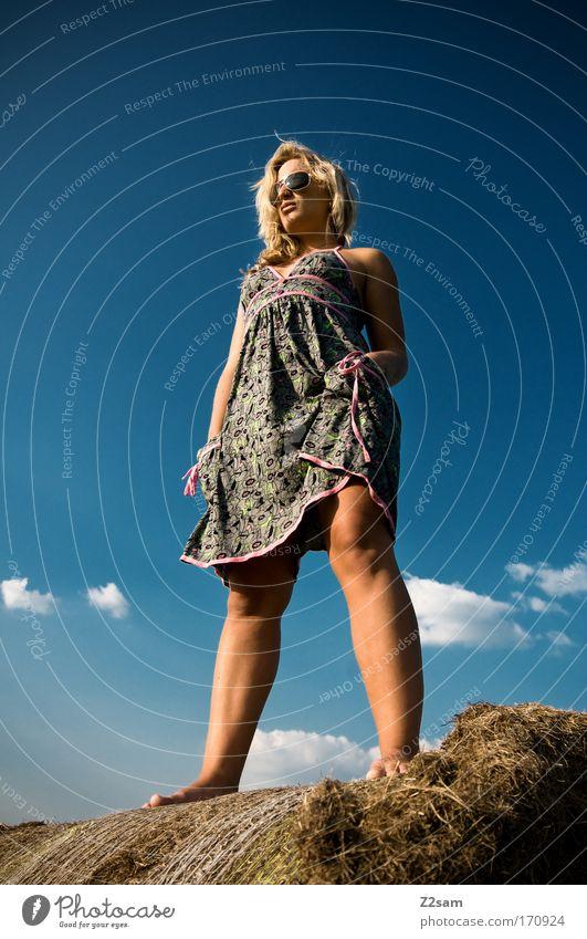lena in heaven Außenaufnahme Wegsehen feminin Junge Frau Jugendliche 18-30 Jahre Erwachsene Natur Landschaft Himmel Wolken Gras Mode Kleid Sonnenbrille blond