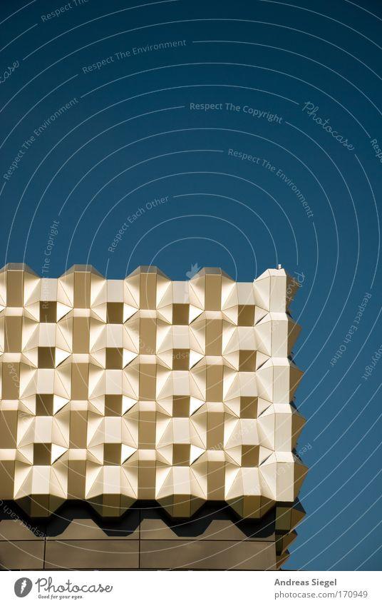 Centrum blau Wand Architektur Gebäude Mauer gold elegant Fassade Design modern ästhetisch außergewöhnlich einfach Dresden eckig