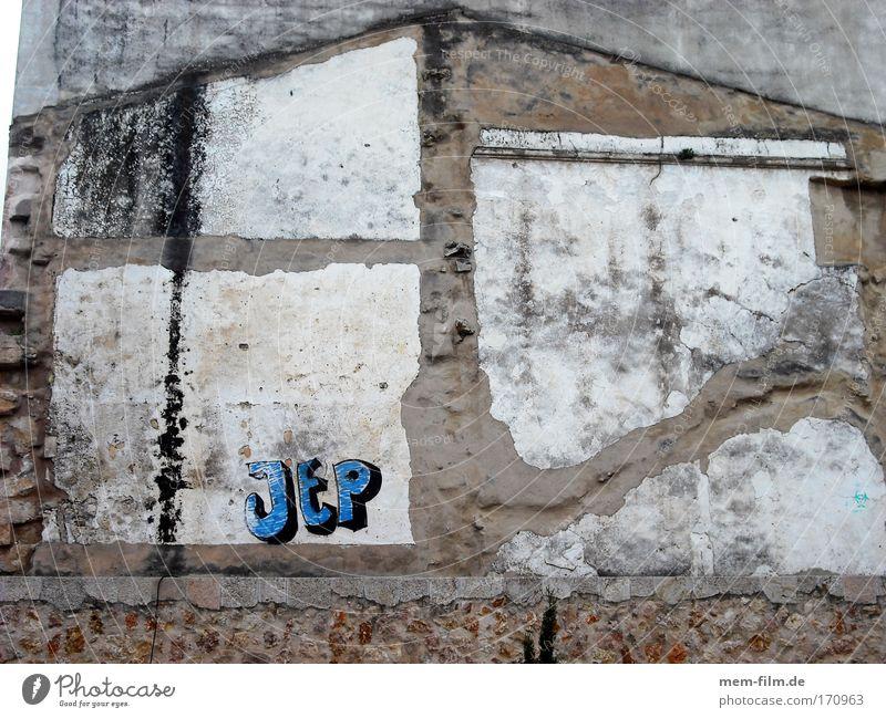 Jep Haus Straßenkunst Graffiti Schlagwort Wand Mauer Spuren Abdruck Geschichte blau braun Gebäude