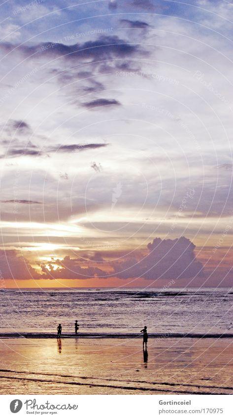 Bali Sundown Wasser Himmel Sonne Meer Sommer Strand Ferien & Urlaub & Reisen Wolken Ferne gelb Freiheit Landschaft gold Horizont Insel Angeln