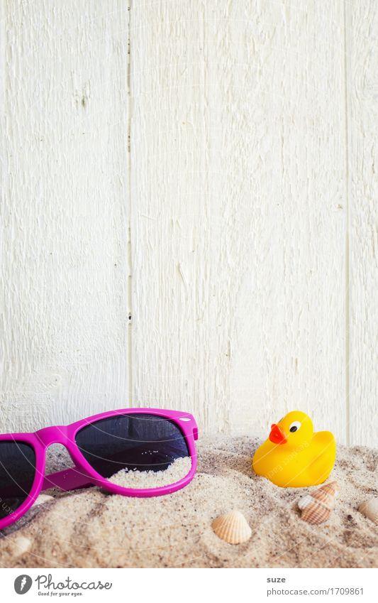 Holiday Ferien & Urlaub & Reisen Sommer Erholung Strand Hintergrundbild Lifestyle Holz klein Sand hell Freizeit & Hobby Zufriedenheit Dekoration & Verzierung