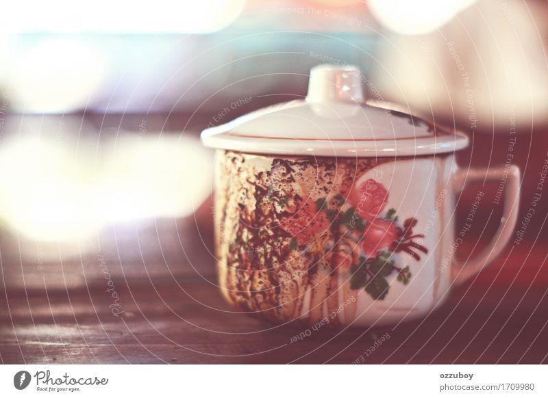Kaffeetasse weiß Freude Wärme Lifestyle Stil Holz Stimmung dreckig Glas authentisch retro einfach Warmherzigkeit weich Getränk