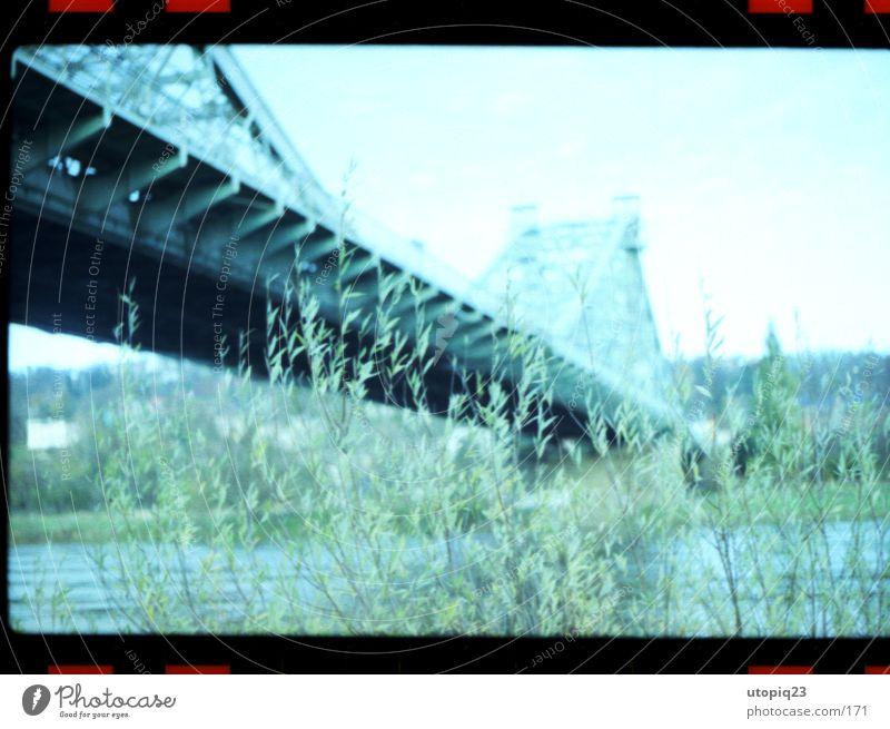 Blaues Wunder Wasser Brücke Architektur kalt blau grün Flussufer Überqueren Dresden Sehenswürdigkeit Gedeckte Farben Außenaufnahme Experiment Polaroid