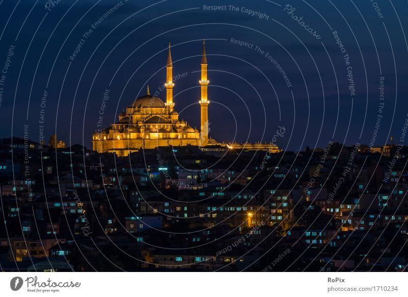 faith mosque Stadt blau Ferne Umwelt Architektur Religion & Glaube Gebäude Tourismus gold ästhetisch Bauwerk Skyline Wahrzeichen Sehenswürdigkeit Denkmal