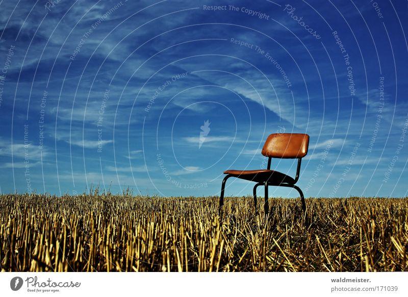 Sitzgelegenheit Natur Himmel Erholung Feld Pause Stuhl Landwirtschaft Ernte Ackerbau Sitzgelegenheit Textfreiraum