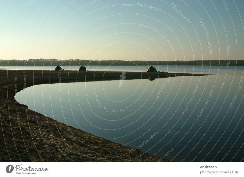 Einsamkeit Camping Zelt See ruhig Meer Sonnenuntergang Erholung Europa Küste Abend Wasser