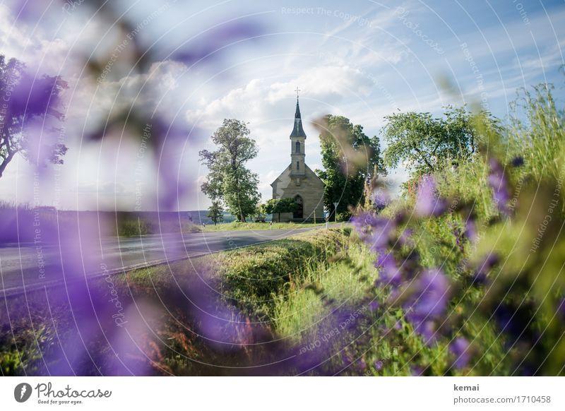 AST9 | Die Kirche an der Biegung der Straße II Ausflug Umwelt Natur Pflanze Himmel Wolken Sommer Schönes Wetter Baum Blume Wiese Sträucher Dorf Wege & Pfade