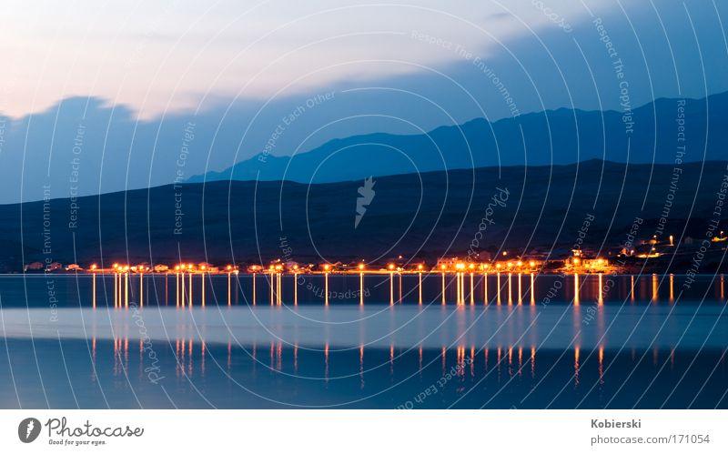 Pag_11 Farbfoto Außenaufnahme Menschenleer Abend Dämmerung Sonnenaufgang Sonnenuntergang Weitwinkel Freizeit & Hobby Tourismus Sommerurlaub Strand Meer Insel