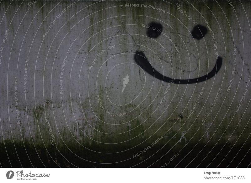Was gibts hier zu lachen? grün Erholung Gesicht Graffiti Wand Mauer grau Zufriedenheit Lächeln Fröhlichkeit Beton Freundlichkeit positiv Begeisterung Euphorie