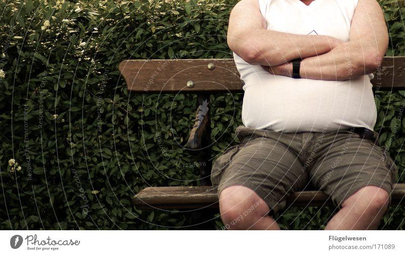 Ein anstrengender Tag auf dem Thron ruhig Erholung Arbeit & Erwerbstätigkeit Park Beine Umwelt Lifestyle Macht Pause Bank genießen Ruhestand Geborgenheit Wohlgefühl Shorts
