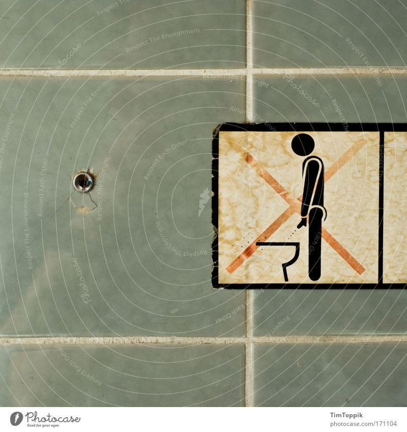 Opfer Mann dreckig Ordnung Häusliches Leben Hinweisschild Sauberkeit Bad Toilette Fliesen u. Kacheln Verfall schäbig Fuge Ekel Verbote Etikett
