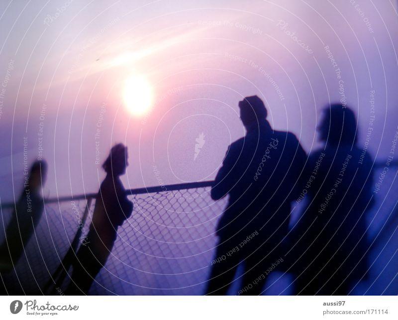 Sonnenuntergänge sind kitschig Farbfoto Textfreiraum oben Dämmerung Licht Sonnenlicht Sonnenstrahlen Sonnenaufgang Sonnenuntergang Gegenlicht Unschärfe