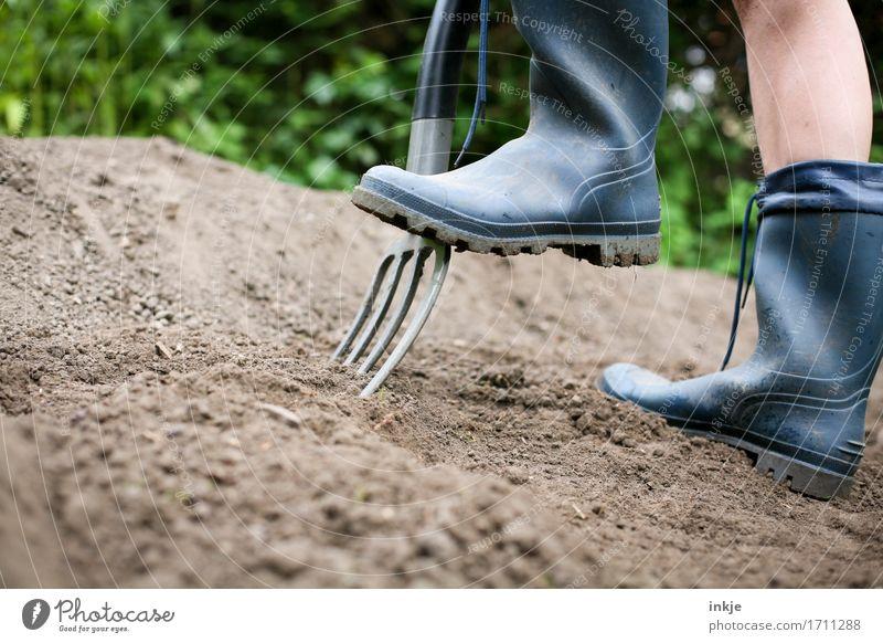 Giersch ausgraben ||| Mensch Sommer Erwachsene Leben Garten Fuß Erde Schönes Wetter Gartenarbeit Gummistiefel fleißig Graben Gartengeräte