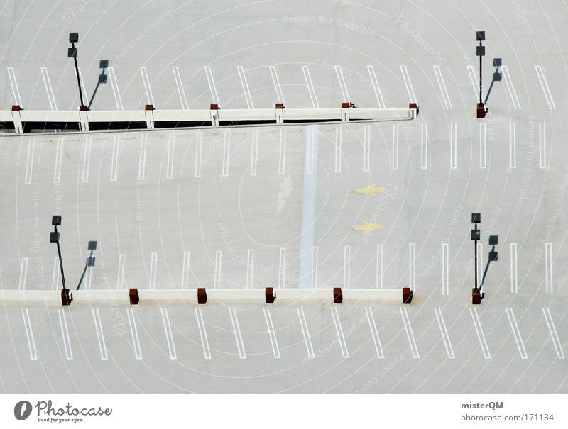 Parking Space. Stadt Ferne grau Schilder & Markierungen Beton Ordnung Design frei leer planen Mangel viele Asphalt Laterne Reihe eng