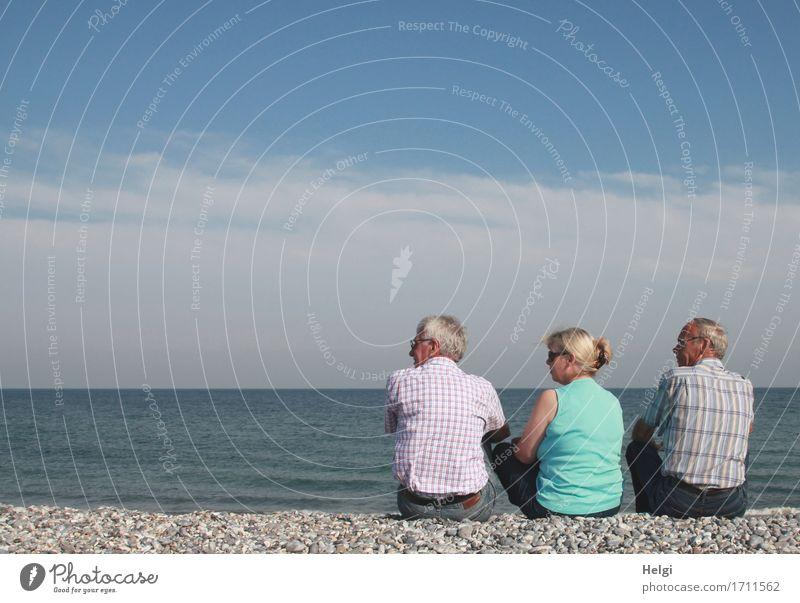 Augen links... Mensch Frau Ferien & Urlaub & Reisen Mann blau Sommer Erwachsene Senior Küste feminin außergewöhnlich grau Zusammensein maskulin Freizeit & Hobby