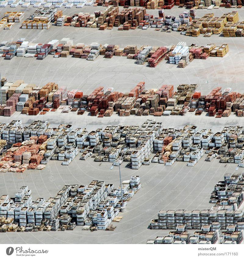 Hochstapler. Luftaufnahme Holz Stein Verpackung Händler Beton Ordnung Wachstum Europa USA viele Kunststoff Hafen Material Wirtschaft Handel