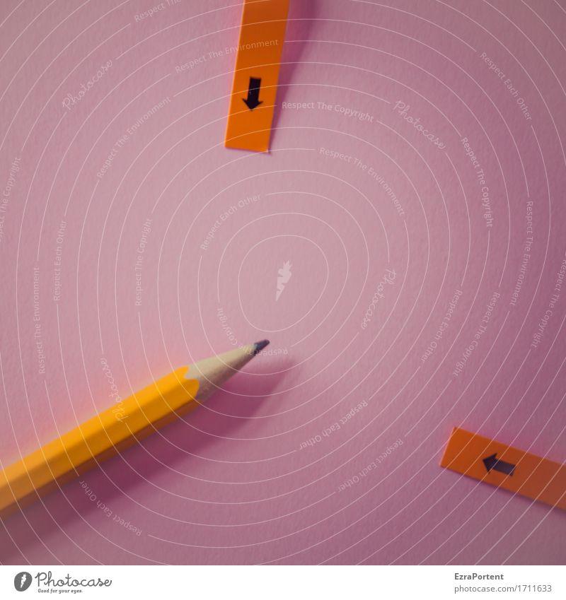 mäßig spitzer Bleistift Freizeit & Hobby Basteln Büroarbeit Arbeitsplatz Schreibwaren Papier Zeichen Pfeil zeichnen schreiben violett orange zeigen Hinweis