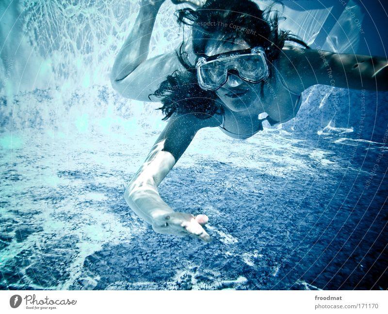 tauchsieder Frau Mensch Jugendliche schön Gesicht Erwachsene feminin Leben Kopf Bewegung Haare & Frisuren träumen Schwimmen & Baden 18-30 Jahre Schwimmbad