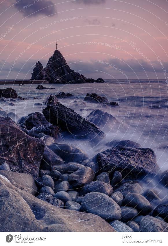 Alles auf Anfang Landschaft Himmel Wolken Sommer Schönes Wetter Felsen Wellen Küste Meer Zeichen schön braun violett orange schwarz Romantik Hoffnung Horizont
