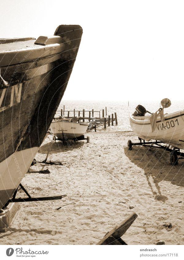 ahoi Wasserfahrzeug Strand Küste Meer Fischer fahren Segeln Ostsee Wind Wetter Sonne alt