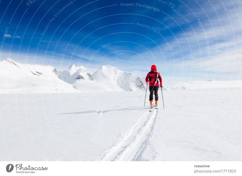 Bergsteiger, der auf einen Gletscher mit Skis Monte Rosa Italy geht Mensch Himmel Natur Ferien & Urlaub & Reisen Mann blau Farbe weiß Landschaft rot Einsamkeit
