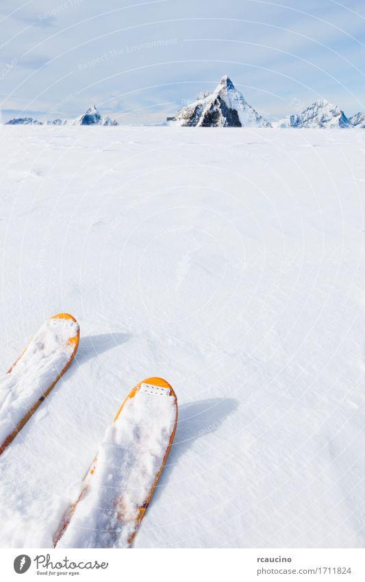 Skispitzen auf einem Gletscher im Hintergrund das Matterhorn Himmel Natur Ferien & Urlaub & Reisen Farbe weiß Landschaft Freude Winter Berge u. Gebirge Sport
