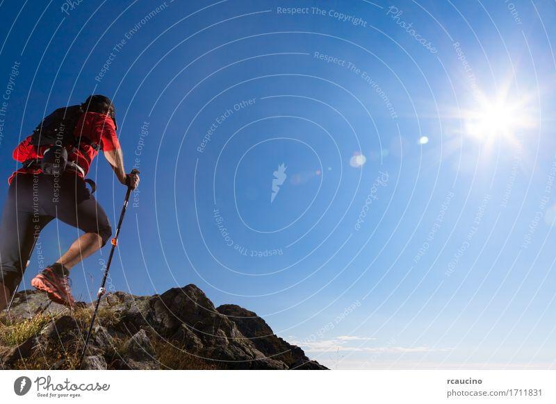 Skyrunner läuft bergauf auf einem Bergweg. Mensch Himmel Natur Mann Sommer Sonne Landschaft rot Einsamkeit Berge u. Gebirge Erwachsene Wege & Pfade Sport