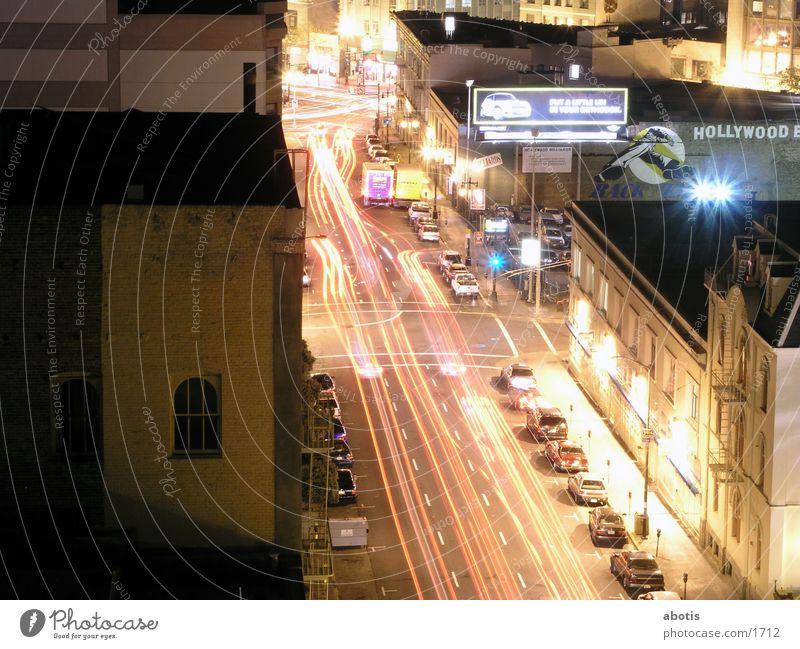 nächtlicher Stadtverkehr San Francisco Nacht Verkehr Langzeitbelichtung Nordamerika Traffic Lights Licht Verzerrung