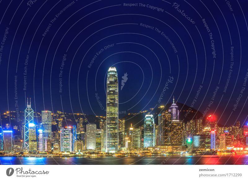 Hong Kong Skyline bei Nacht schön Ferien & Urlaub & Reisen Tourismus Meer Insel Büro Kapitalwirtschaft Business Landschaft Himmel Stadt Stadtzentrum Hochhaus