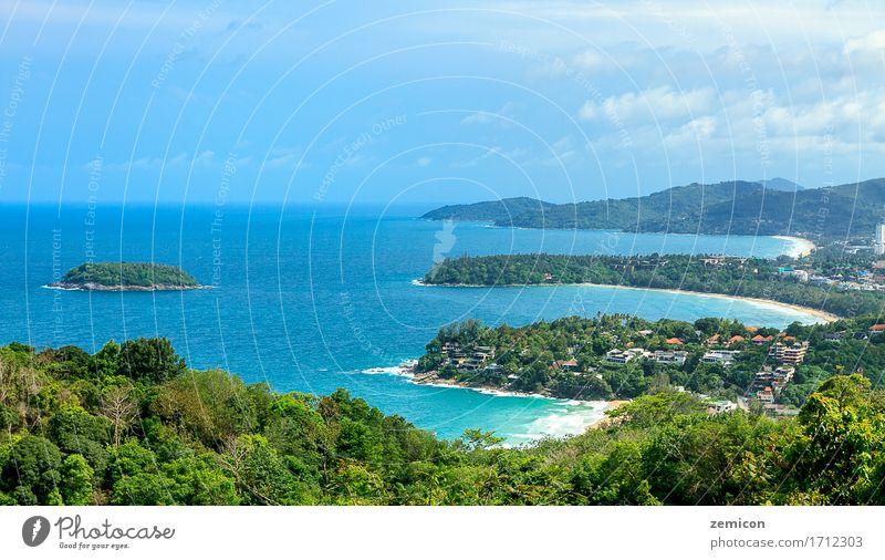 Schöner Ozean und sandige Küstenlinie vom hohen Standpunkt Himmel Natur Ferien & Urlaub & Reisen blau Sommer schön Sonne Landschaft Meer Erholung Strand Sand