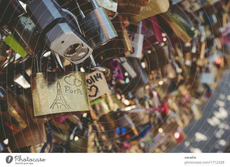 Oh, Paris! schön Liebe lustig verrückt Gold Brücke Romantik Sicherheit viele Kitsch Hauptstadt Frankreich trendy Partnerschaft Sommerurlaub Verliebtheit