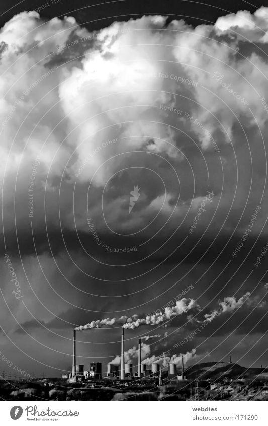 wolken los! Himmel weiß schwarz dunkel grau Wetter Wind dreckig nass Klima trist Unwetter Stromkraftwerke Ruhrgebiet