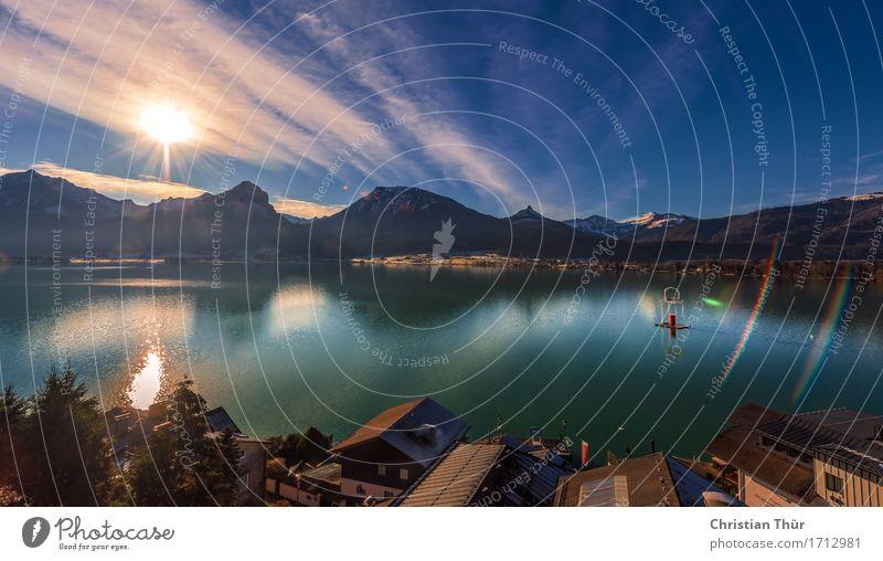 Seespiegelungen Ferien & Urlaub & Reisen Pflanze Erholung Wolken Ferne Berge u. Gebirge Leben Herbst Freiheit Felsen Tourismus Zufriedenheit leuchten wandern