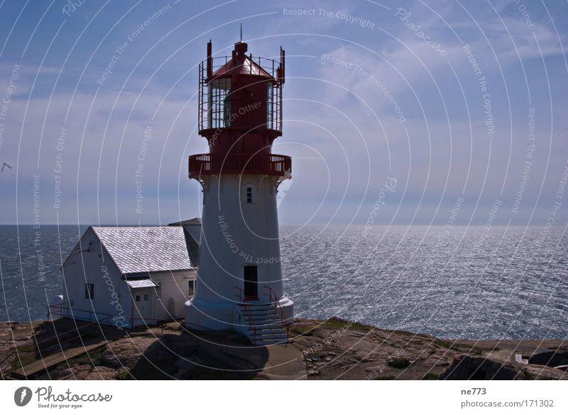 Der Leuchtturm von Lindesnes in Norwegen Natur Wasser Meer Ferien & Urlaub & Reisen Wolken Ferne Erholung Freiheit träumen Landschaft groß Ausflug Tourismus