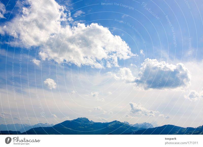 Nachmittag im Frühsommer Natur Himmel Sonne blau Sommer Ferien & Urlaub & Reisen Wolken Ferne Berge u. Gebirge Freiheit träumen Landschaft Luft Umwelt groß Ausflug