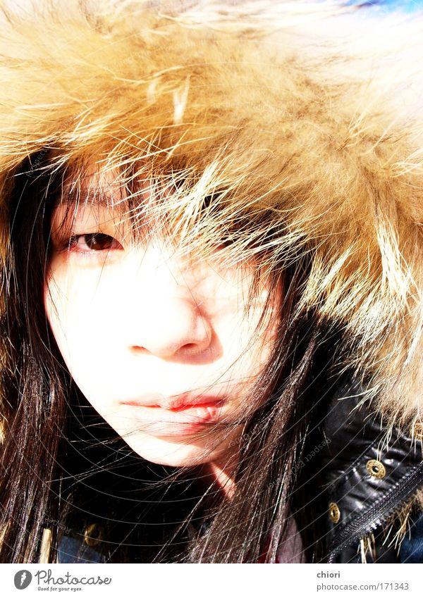 Kind Jugendliche weiß schön Sonne Freude Winter Gesicht Leben Stil träumen Kunst frisch Fröhlichkeit Coolness