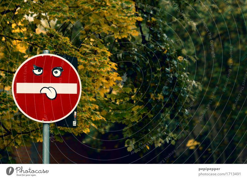 (Verkehrt)zeichen Stadt rot Freude Auge Graffiti Kunst Park Verkehr Freizeit & Hobby Schilder & Markierungen Hinweisschild Zeichen Streifen Verkehrswege Personenverkehr frech