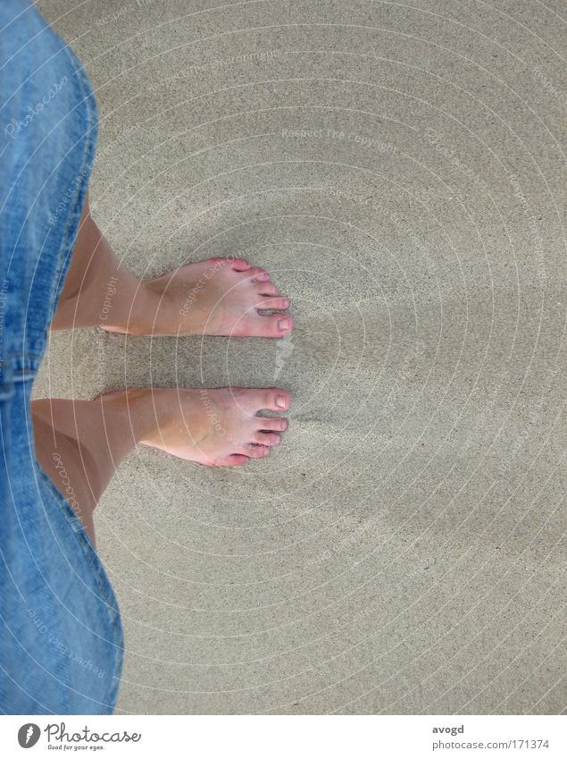 Käsemaucken säubern Frau Mensch Meer Strand Erwachsene feminin Sand Beine Fuß Haut frei 18-30 Jahre heiß Rock Jeansstoff Zehen