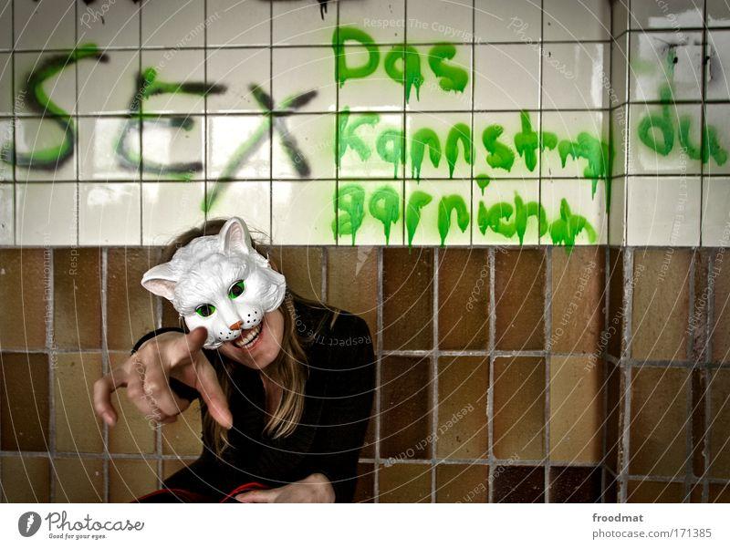 sex - das kannst du garnicht Frau Mensch Hand Katze Erwachsene feminin Graffiti lachen Sex dreckig Finger verrückt Maske skurril Typographie Humor