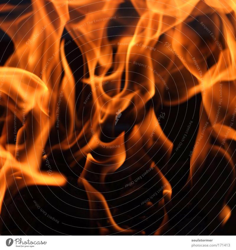 Feuer! Farbfoto Außenaufnahme Detailaufnahme Nacht Lichterscheinung Low Key Lifestyle Ferien & Urlaub & Reisen heiß hell gelb rot schwarz Stimmung