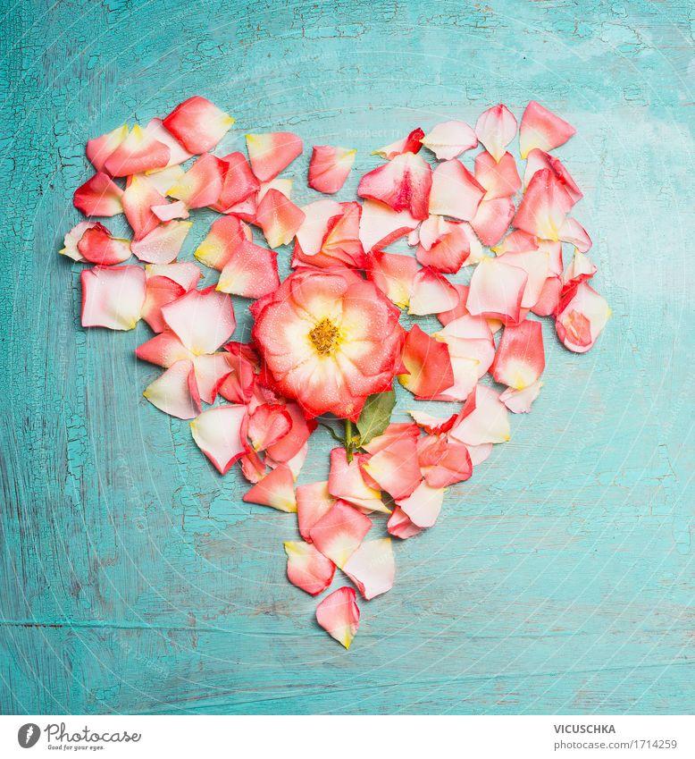 Rosenblüten Herz Natur Pflanze Blume Blüte Liebe Stil Feste & Feiern rosa Design Geburtstag Herz Romantik Zeichen Hochzeit Symbole & Metaphern Rose