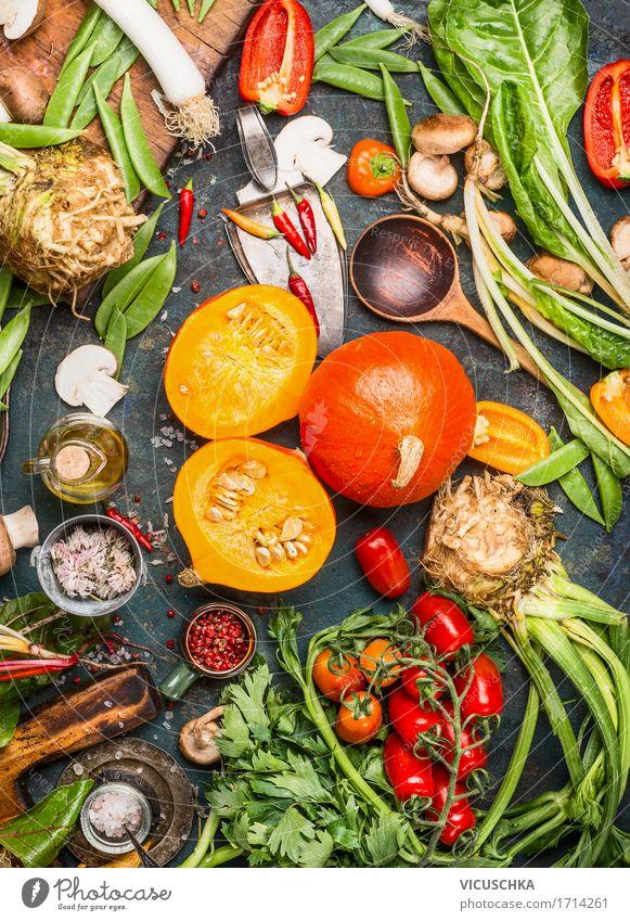 Kürbisse und leckeres Gemüse für schmackhafte Küche Gesunde Ernährung gelb Leben Foodfotografie Stil Lebensmittel Design Tisch Kräuter & Gewürze