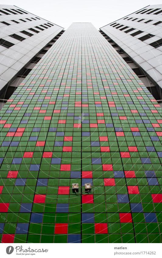 green mosaic Stadt Hauptstadt Stadtrand Menschenleer Haus Hochhaus Gebäude Architektur Mauer Wand Fassade Fenster ästhetisch blau grau grün rot Mosaik Berlin