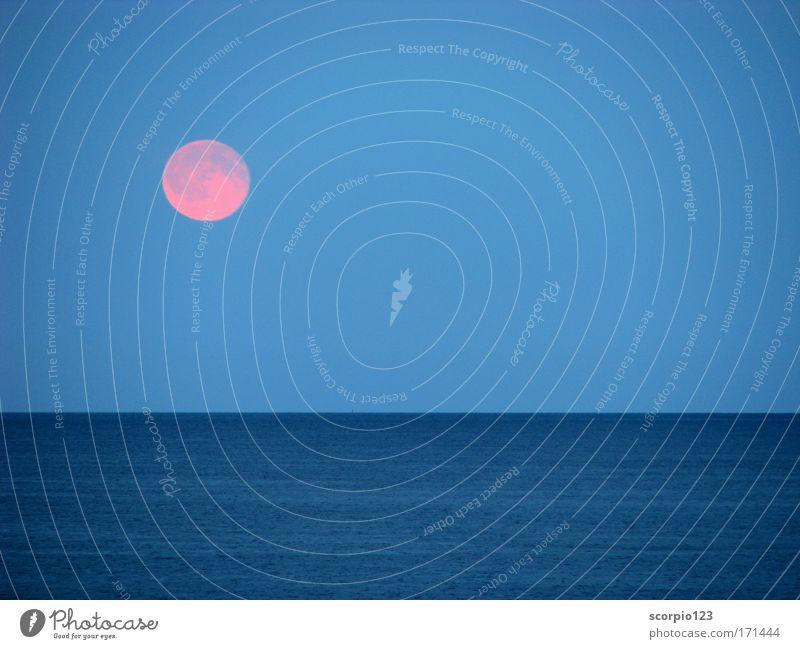 Mondaufgang am Meer Natur Wasser Himmel blau ruhig Zufriedenheit Kraft Fernweh Vollmond