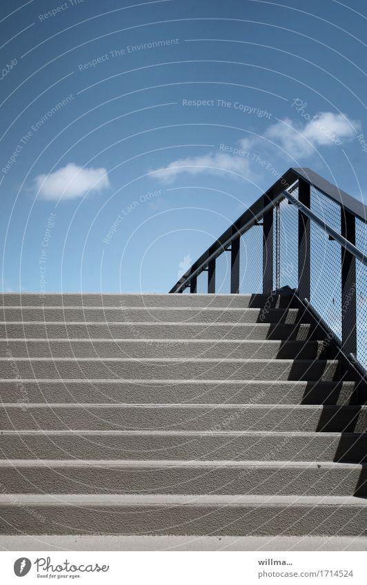 ... the other side Bauwerk Architektur Treppe Treppengeländer blau grau graphisch Wolken Straßenübergang minimalistisch Farbfoto Außenaufnahme Menschenleer