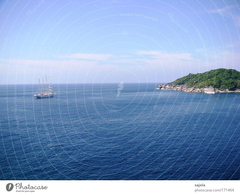 segelschiff auf weiter flur Himmel Natur blau Wasser Ferien & Urlaub & Reisen Sommer Meer Tier Umwelt Landschaft Luft Horizont Wellen Felsen Insel Tourismus