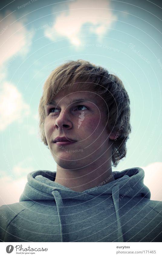 Jugend mit Zukunft maskulin Junger Mann Jugendliche 1 Mensch 18-30 Jahre Erwachsene träumen blond Gesicht Farbfoto Außenaufnahme Nahaufnahme Lomografie