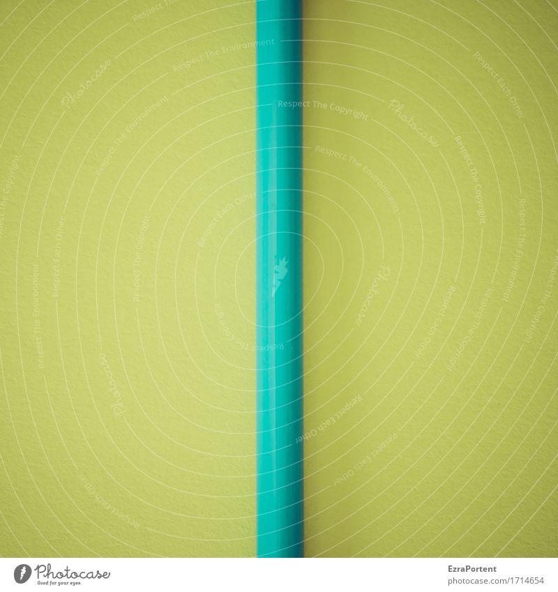 Kanal in Monokultur Zeichen Schilder & Markierungen Hinweisschild Warnschild Linie blau grün türkis Design Farbe Schreibstift assoziativ gerade