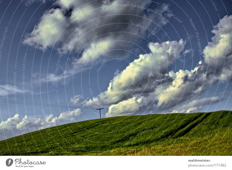 Landschaft Natur Himmel Wolken Hügel Feld Ackerbau Landwirtschaft ruhig Erholung Ferien & Urlaub & Reisen grün blau Textfreiraum Mecklenburg-Vorpommern