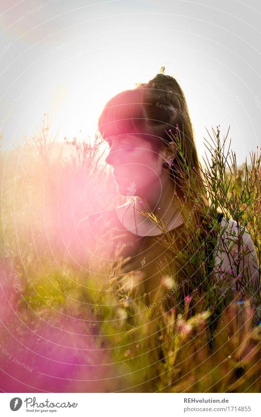 Carina | im Abendlicht Stil Glück Mensch feminin Junge Frau Jugendliche 1 18-30 Jahre Erwachsene Umwelt Natur Sonnenlicht Sommer Blume Gras Sträucher brünett